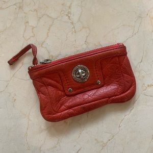 Marc Jacobs Red/Orange Leather Coin Purse So Cute!